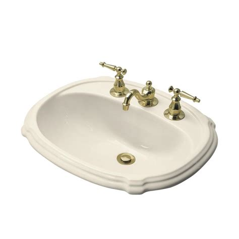 bathroom sink drain home depot kohler portraitceramic drop in bathroom sink in almond