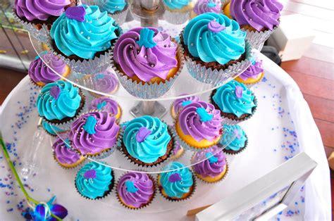 purple  turquoise wedding cupcakes double choc mud
