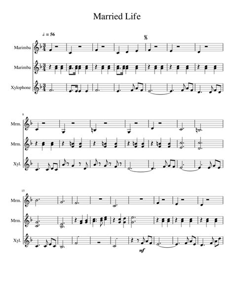 Learn how to play married life (from movie up) with letter notes sheet / chords for piano and keyboard. Married Life from Up sheet music for Percussion download free in PDF or MIDI