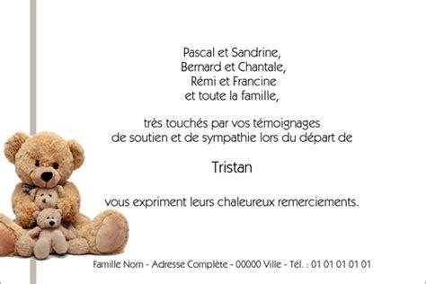 modele de lettre de soutien apres un deces cartes de remerciement de d 233 c 232 s pour enfants et b 233 b 233 s