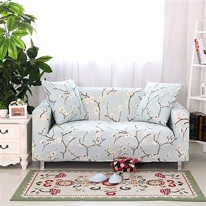 Blue floral sectional sofa covers elastic sofa slipcover for Blue floral sofa covers