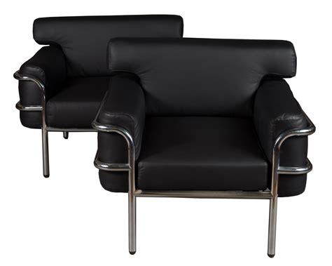 Pair Vintage Le Corbusier Style Black Leather Club Chairs Chair Desk With Storage Bin Uk High End Dining Room Chairs And Recliners Casters For Office On Hardwood Floor Grey Leather Wedding Decoration Ideas Football Bean Bag Lounge Beach Towel Clips