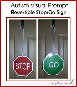 Free printable autism visual prompt stop and go door for Bathroom signs for classroom