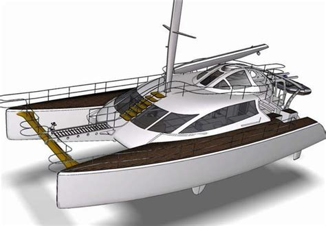 Catamaran Cad Design by 20m Cruising Catamaran 3d Cad Model Library Grabcad