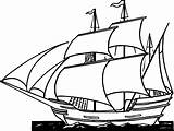 Ship Clipart Clipper Pirate Drawing Line Coloring Simple Side Printable Clipartmag sketch template