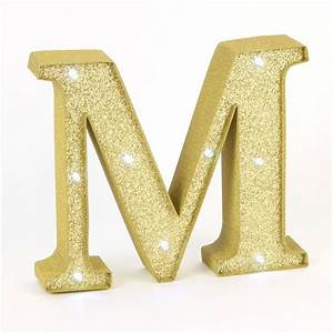gold glitter light up letter m valentines gifts for her With gold light up letters