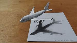 Drawing Airplane - How to Draw 3D Airplane, Boeing 747 ...