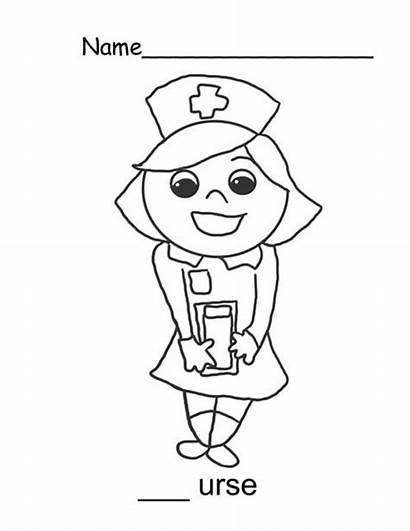 Nurse Coloring Pages Smile Sweet Cartoon Drawing