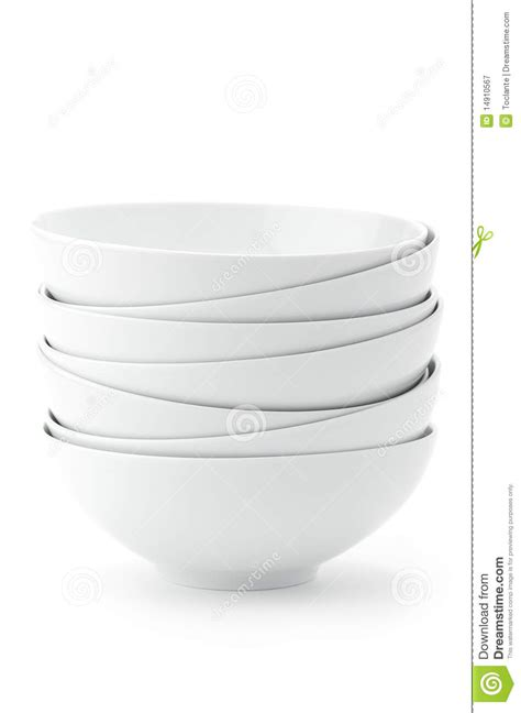 white stacked stack of white bowls royalty free stock photography image 14910567