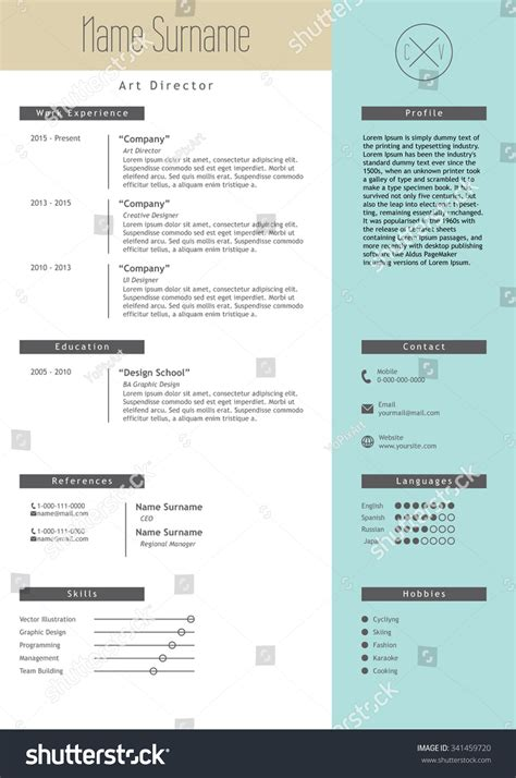 vector creative resume template minimalistic blue and