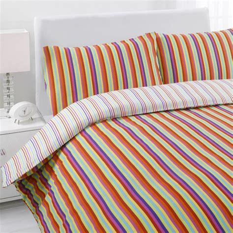 Bright Stripe Multi Coloured Reversible Quilt Duvet Cover