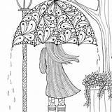 Coloring April Pages Pretty Umbrella sketch template