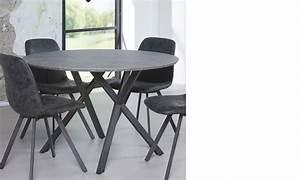 Table A Manger Beton : table manger ronde design effet b ton et acier noir cruzar 2 ~ Teatrodelosmanantiales.com Idées de Décoration