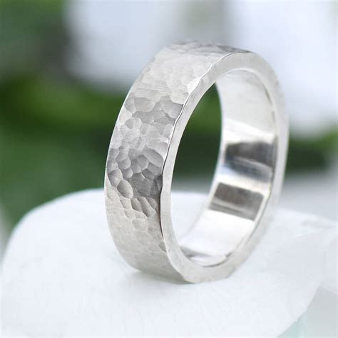 chunky hammered silver ring  lilia nash jewellery
