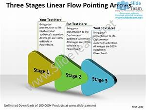 Editable Three Stages Linear Flow Pointing Arrows