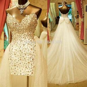 custom made sweetheart sleeveless luxury rhinestone With wedding dress short in front with long train