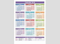 Yearly Calendar 2019 Template with France Holidays Free