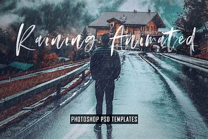 Photoshop Animated Psd Templates Raining Template Effects