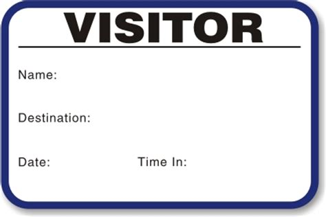 Visitor Pass Template by Time Expiring Small 1 Day Voiding Visitor Pass