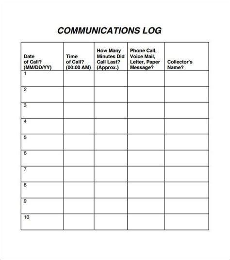 staff communication log template templates printable
