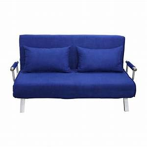 homcom 61quot folding futon sleeper couch sofa bed blue With blue futon sofa bed