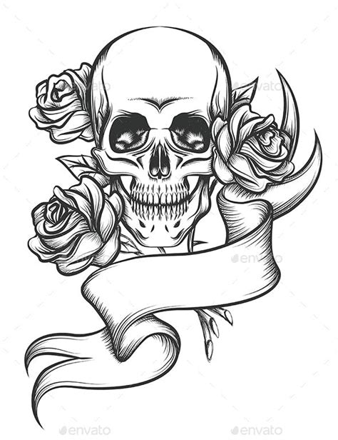 Skull and Roses with Ribbon by Olena1983 | GraphicRiver