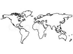 Schwarz Weltkarte umreißt isoliert auf weiß , abstrakte ...