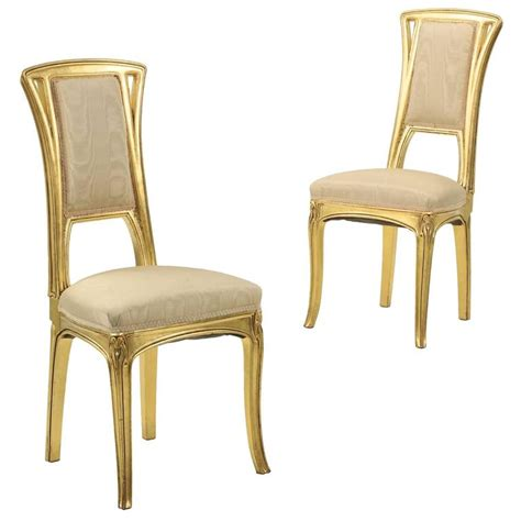 pair of nouveau period giltwood side chairs