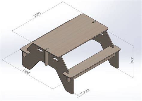 Table With Benches Project To Cut On Cnc Router Vector Dxf