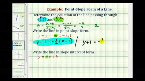 ex find the equation of the line in point slope and slope intercept form given two points youtube