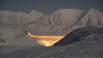 Svalbard Lights Northern Night Polar Landscape There
