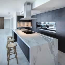 black granite top kitchen island 32 trendy and chic waterfall countertop ideas digsdigs