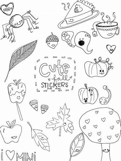 Stickers Fall Coloring Printable Printables Freebie Pages