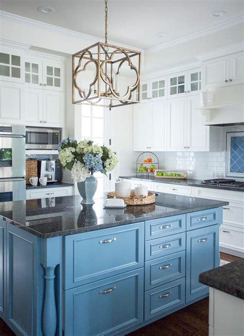 cornflower blue kitchen island  black granite