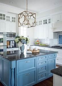 Cornflower Blue Kitchen Island with Black Granite