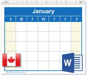 calendar canada holidays ms word