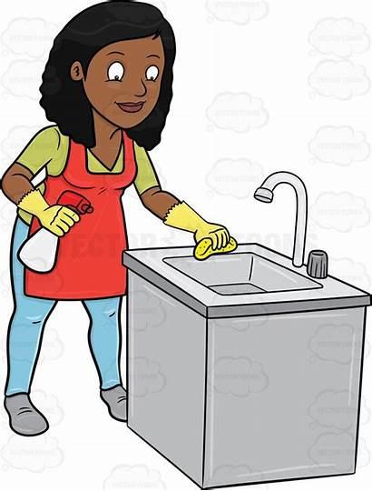 Clipart Clean Sink Kitchen Woman Clip Cartoon
