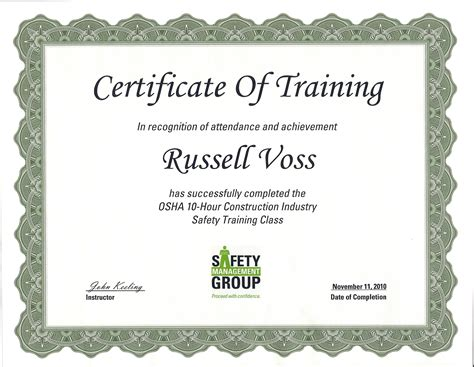 osha 10 certificate template safety easterday construction
