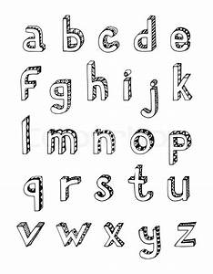 sketch hand drawn 3d alphabet of small lower case letters With small case letters