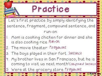 sentences compound sentences fragments  run