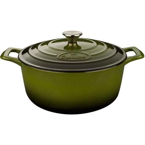 pro cuisine la cuisine saute 3 75 qt cast iron casserole with green