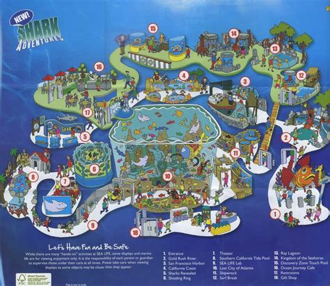 aquarium sea map maps brochures park theme california carlsbad thesis sealife brochure themeparkbrochures diagram fun date location