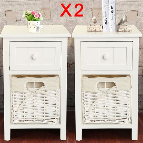 pair  shabby chic white bedside tables drawers