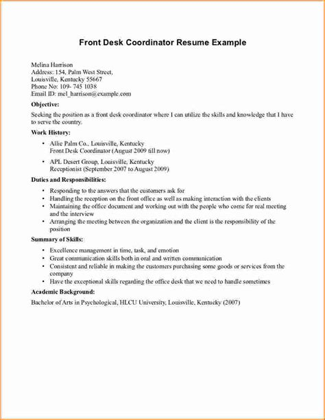 resume for front desk receptionist at hotel hotel receptionist cv