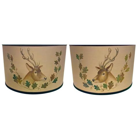 hand painted l shades black forest pair of hand painted l shades with hunting