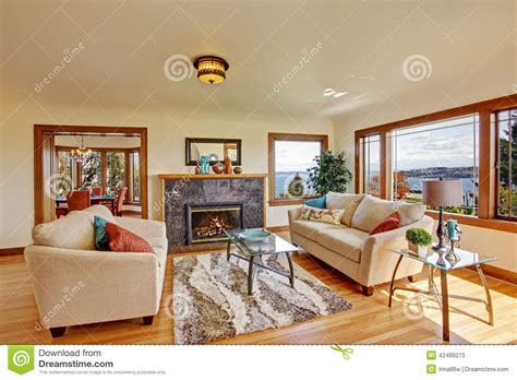 bright living room in light ivory tones stock image image 42489273
