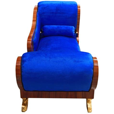 chaise empire large chaise longue blue velvet empire style and mahogany