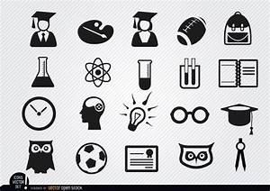 Academic School Icons Set Free Vector   123Freevectors