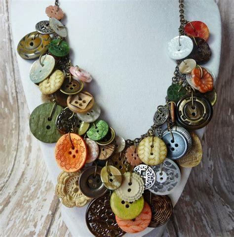 buttons craft ideas bountiful buttons vintage button necklacestatementaward 1198