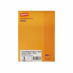 staples labels laser inkjet a4 sheet 1 label 210x297mm 100 With how to print staples labels